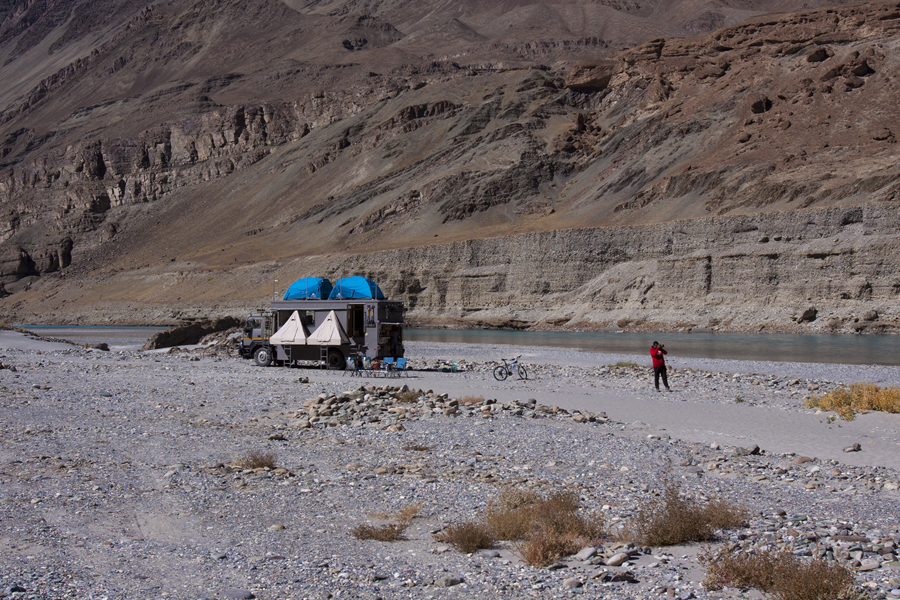 Taurus anchored on the riverbed of river Indus in Ladakh (India)
