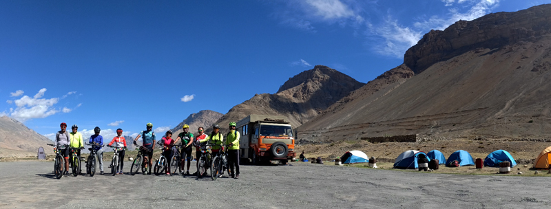 """<img src=""""group cycling expedition with campervan ladakh.jpeg"""" alt=""""offbeat campervan camp and overland truck on the move in wilderness nomadic with all comforts of caravan camping best energy food manali to leh to kashmir srinagar ladakh"""">"""