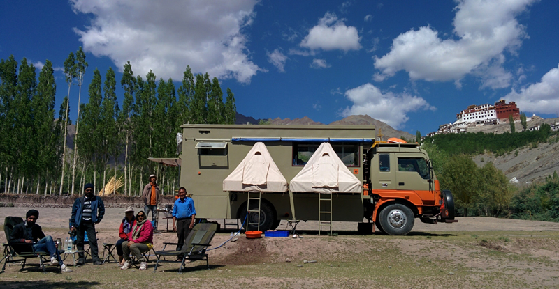 """<img src=""""caravan rv overland truck camping at matho.jpeg"""" alt=""""best photo tour offbeat location overlanding riverside caravan campervan for photographers families couples secluded quiet peaceful camp location barbecue hygienic camp matho ladakh"""">"""